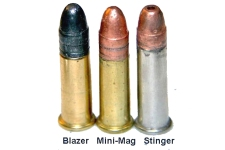L to R: Lead Bullet, Copper-Plated Bullet, and Cooper-Plated Hollowpoint Bullet